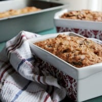 Three pans with fresh baked Orange Date & Nut Bread