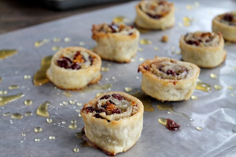 Cranberry and Walnut Pinwheels