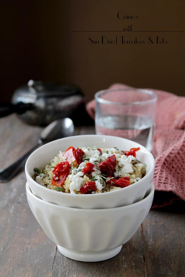 Quinoa with Sun Dried Tomatoes and Feta | www.diethood.com | #quinoarecipes #sundriedtomatoes #feta #quinoa