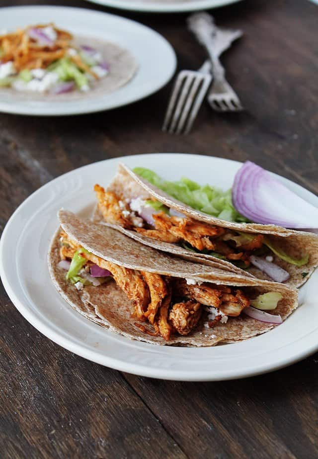 Shredded Buffalo Chicken Tacos | www.diethood.com | #dinner #tacos #buffalochicken #recipe