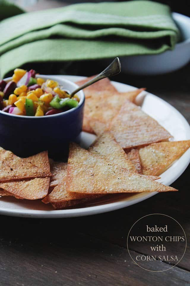 Baked Wonton Chips with Corn Salsa | www.diethood.com | #chips #recipe ...