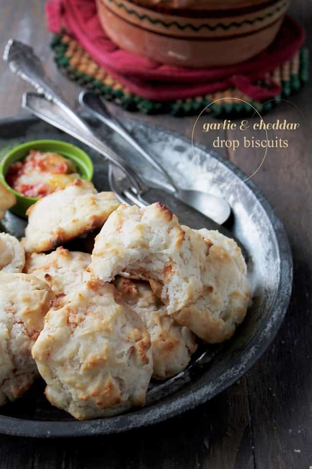 Garlic and Cheddar Biscuits www.diethood wp Savory Sundays: Garlic and Cheddar Drop Biscuits {Guest Post}