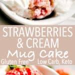 Strawberries Cream Mug Cake Keto