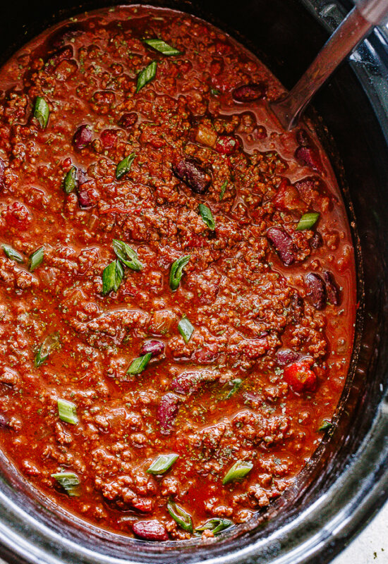 Beef Chili in the slow cooker