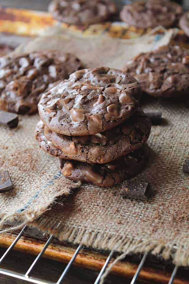 Chocolate Butterscotch Cookies   www.diethood.com   Thin, rich, decadent chocolate cookies with butterscotch chips for your chocolate-lovin' Valentine   #recipe #chocolate #cookies