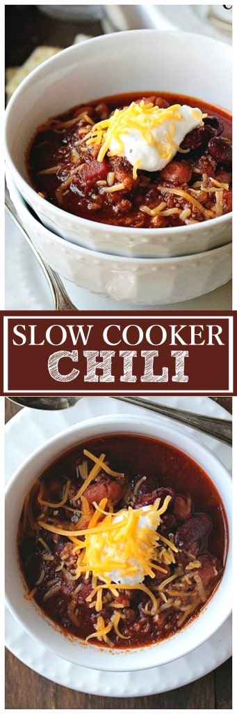 Slow Cooker Chili | www.diethood.com | Delicious, warm, beefy chili packed with beans, vegetables, and spices.