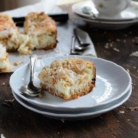 Coconut Milk Bars | www.diethood.com | Moist, gooey, extra sweet Coconut Milk Bars made with milk, shredded coconut, and a sprinkle of hazelnuts | #recipe #cookies #desserts #coconut