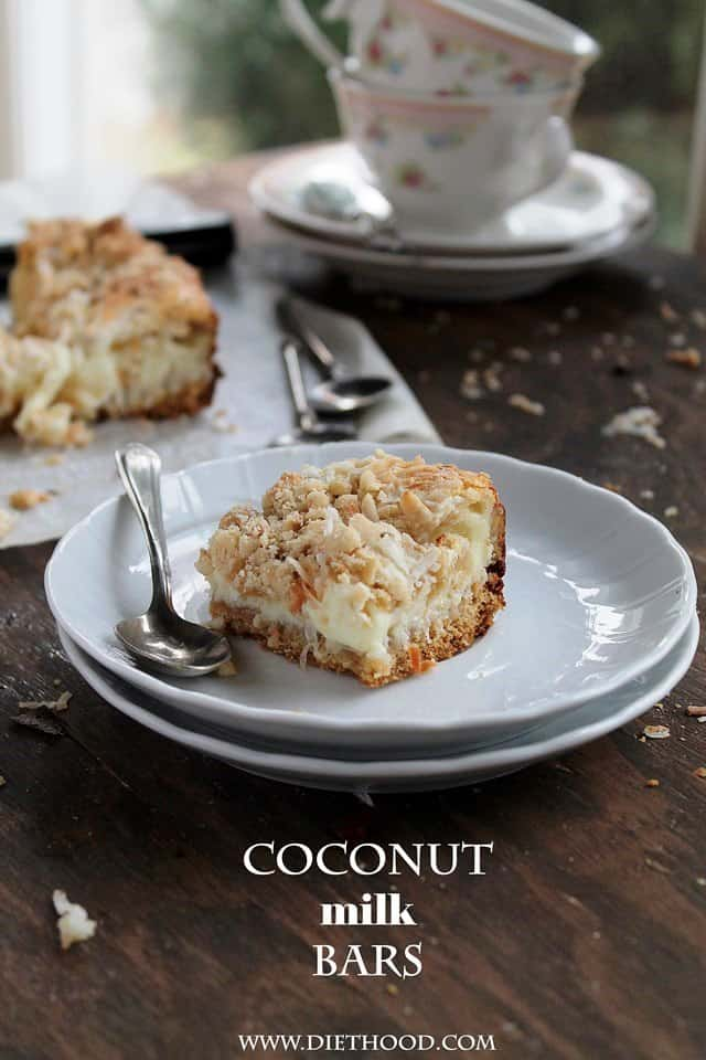 Coconut Milk Bars | www.diethood.com | Moist, extra sweet Coconut Milk Bars made with milk, shredded coconut, and a sprinkle of hazelnuts | #recipe #cookies #desserts #coconut