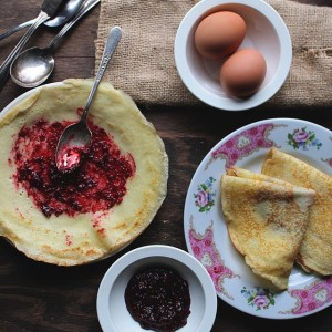 Lemon Crepes with Raspberry Sauce | www.diethood.com | Warm, sweet raspberry sauce over fluffy, citrusy crepes is delightful | #recipe #crepes #breakfast #sauce #mardigras