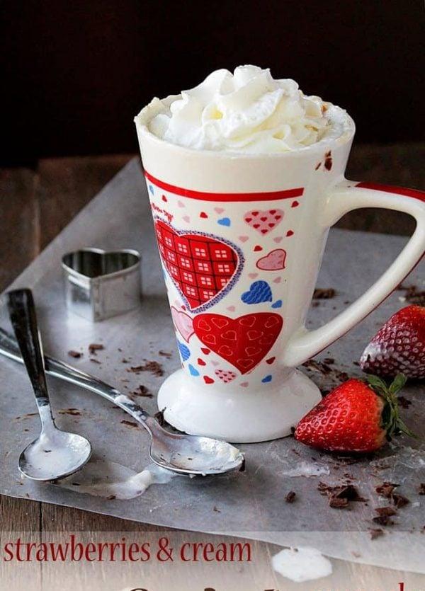 Strawberries and Cream 3-minute Mug Cake | www.diethood.com | Last minute Valentine's Day Dessert | #valentinesday #cake #recipe #dessert #strawberries #cream | @diethood