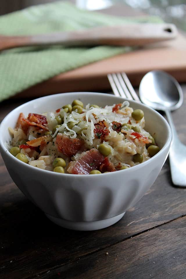 risotto2wp Sweet Pea and Crispy Bacon Risotto