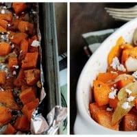 Sweet Potato Hash with Onions and Feta | www.diethood.com | Roasted sweet potatoes with onions and feta cheese | #recipe #sweetpotatoes #dinner #feta