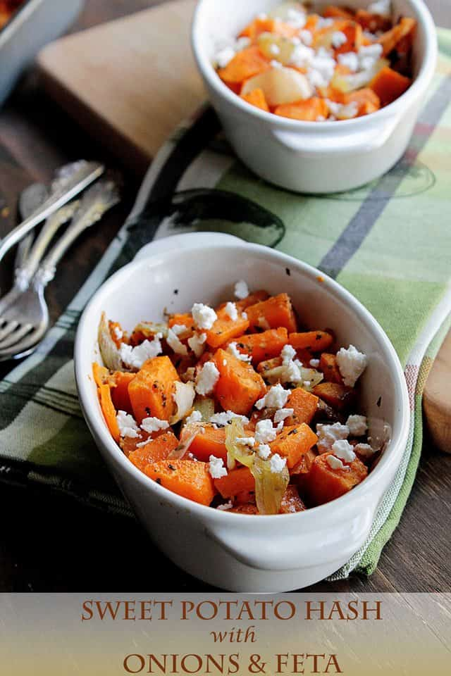 Sweet Potato Hash with Onions and Feta | www.diethood.com | Roasted sweet potatoes and onions, topped with feta cheese | #recipe #sweetpotatoes #sidedish #dinner #feta