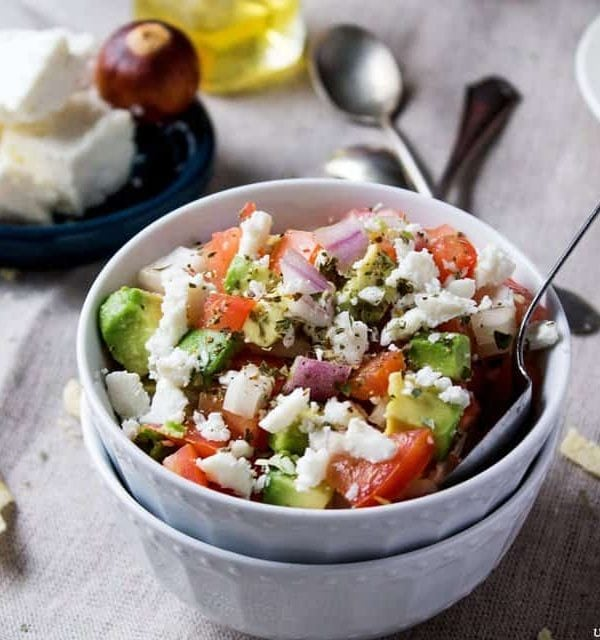 Avocado Feta Salsa | www.diethood.com | Avocados, tomatoes, and feta cheese combined to make a chunky, savory, delicious summer salsa | #recipe #avocado #feta #salsa