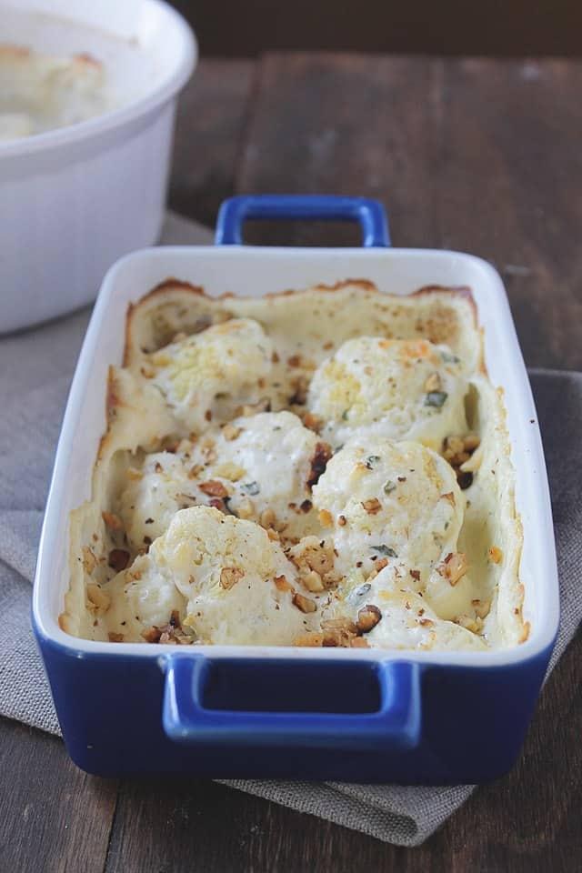 Creamy Cauliflower with Toasted Walnuts | www.diethood.com | Creamy cauliflower side dish, topped with toasted walnuts | #recipe #sidedish #dinner #cheese