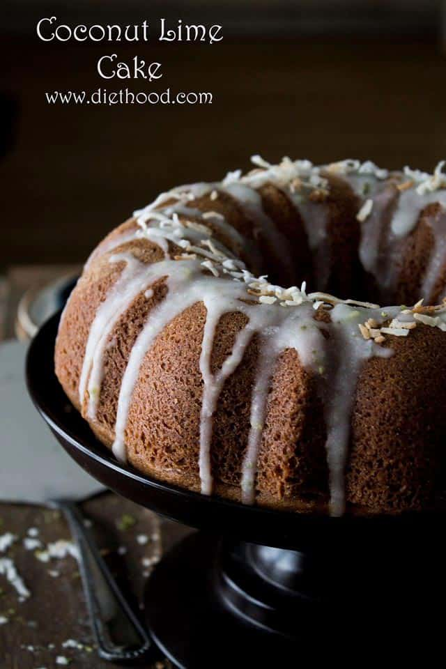 Coconut Lime Cake | www.diethood.com | This Coconut Bundt Cake has a wonderful, sweet, rich coconut flavor that is complemented by a light hint of lime | #recipe #bundtamonth #cake #coconut #dessert