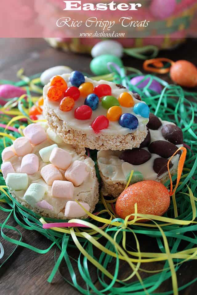 Easter Rice Crispy Treats | www.diethood.com | Easter egg-shaped Rice Cirspy Treats topped with melted white chocolate and a variety of jelly beans, marshmallows, and milk chocolates | #recipe #easter #ricekrispiestreats #foodfun
