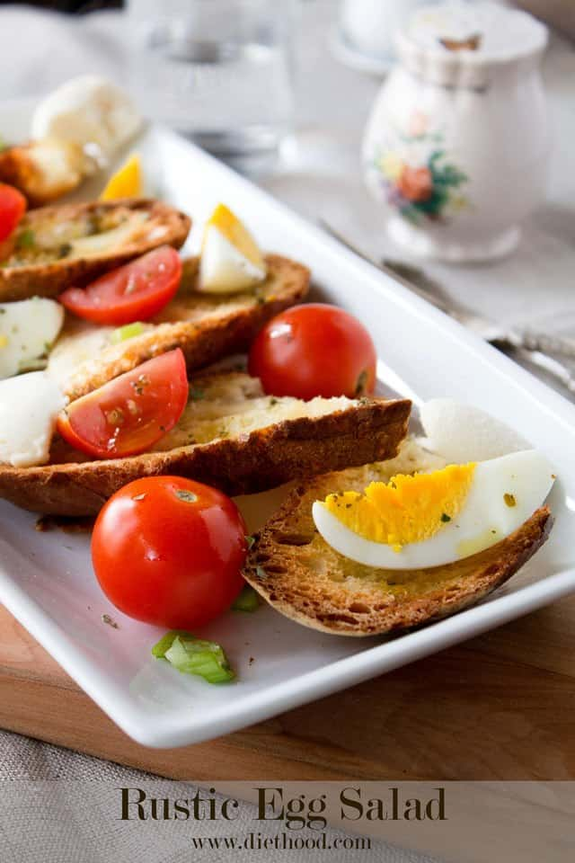 Rustic Egg Salad | www.diethood.com | Simple egg salad served atop crusty bread with tomatoes, soft cheese, and green onions | #recipe #easter #eggsalad #eggs #appetizer