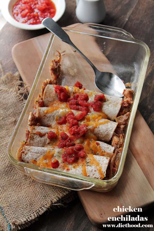 Chicken Enchiladas | www.diethood.com | Rolled tortillas loaded with chicken, tomatoes and a creamy, cheesy sauce | #recipe #dinner #tacos #enchiladas
