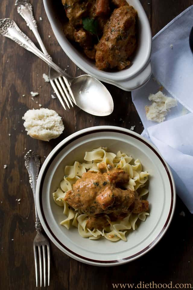 Chicken Paprikash | www.diethood.com | Chicken stew with onions, carrots and tomatoes, served atop egg noodles, and dressed with a sour cream sauce. | #recipe #dinner #chicken #noodles