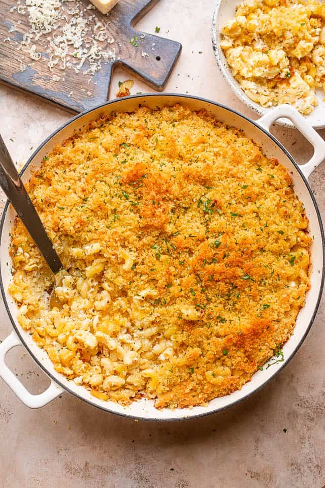 pot of baked macaroni with feta cheese