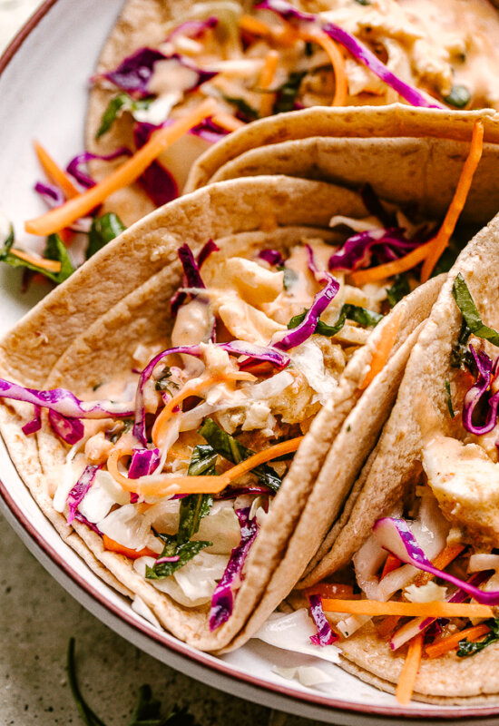 Plate with fish tacos