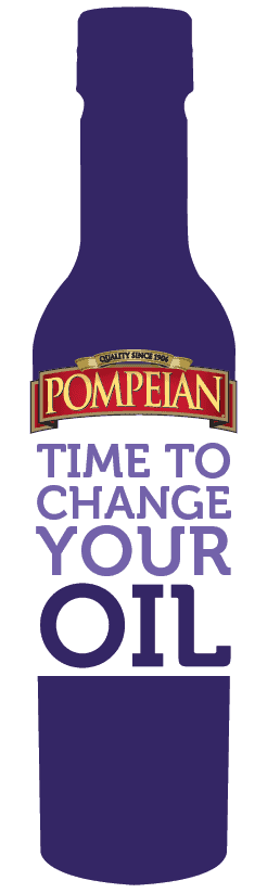 Purple Pompeian oil bottle with the text Time to Change Your Oil