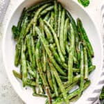 Green Beans served in a casserole dish.