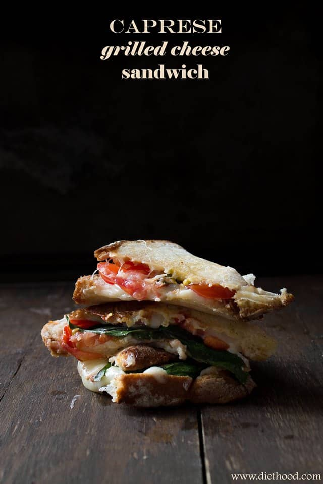 Caprese Grilled Cheese Sandwich | www.diethood.com | #grilledcheese #sandwiches #lunch #caprese