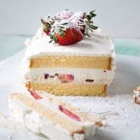 Strawberries and Cream Ice Cream Cake | www.diethood.com | #icecream #strawberries #recipe #cake