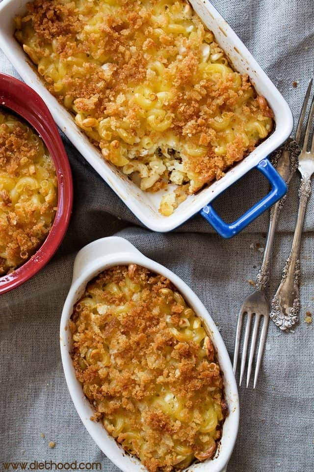 Oven Baked Macaroni and Feta Cheese | www.diethood.com | Oven baked macaroni made with a mixture of eggs, milk, and feta cheese, garnished with a crispy crumb topping | #recipe #dinner #meatless #macandcheese #feta