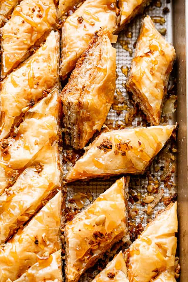 Baked Coconut Baklava in a pan and cut up into diamonds