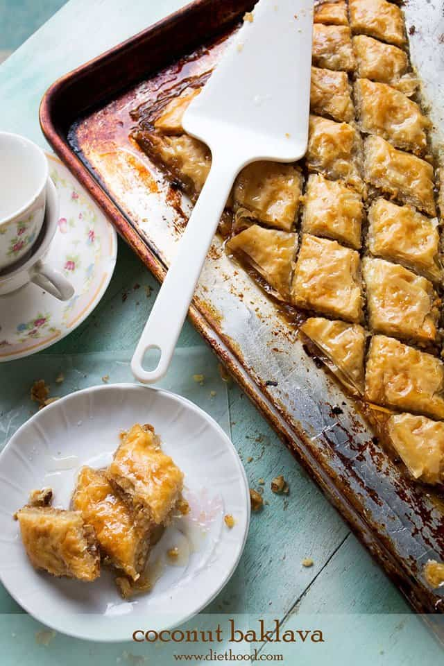 Coconut Baklava | www.diethood.com | Layers of phyllo sheets filled with shredded sweetened coconut and walnuts | #dessert #recipe #baklava #coconut