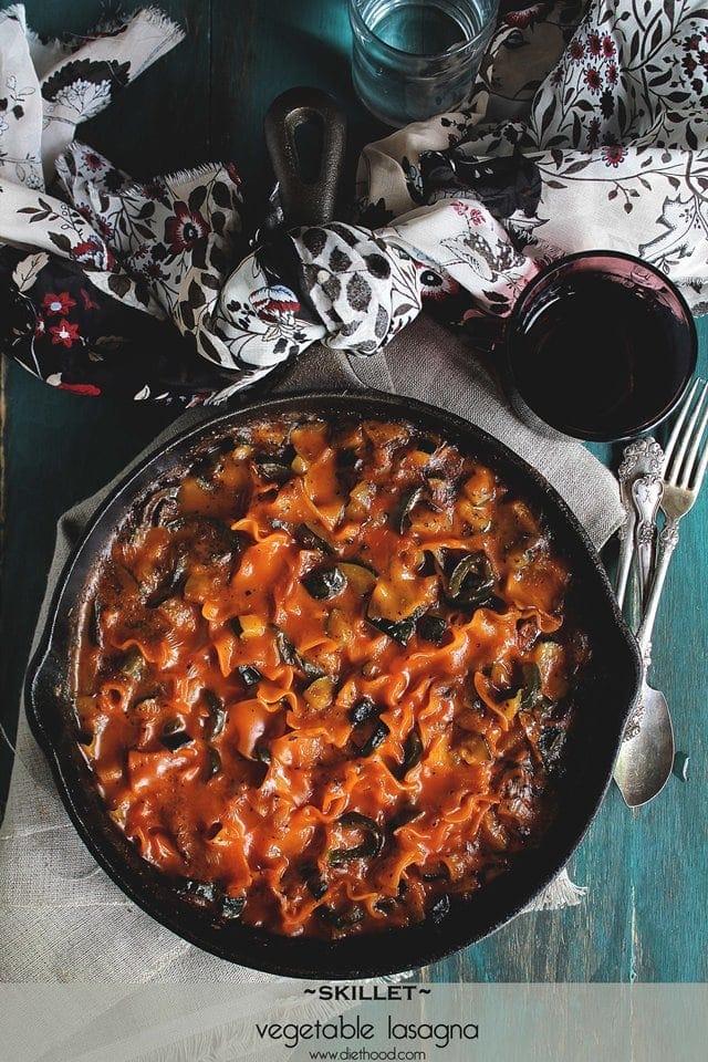 Skillet Vegetable Lasagna | www.diethood.com | #recipe #dinner #lasagna #vegetarian