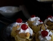 Banana Split Cream Puffs | www.diethood.com | Classic cream puffs filled with pineapple chunks, vanilla pudding, and banana | #recipe #dessert #bananasplit