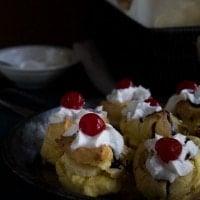 Banana Split Cream Puffs | www.diethood.com | Classic cream puffs filled with pineapple chunks, vanilla pudding, and banana | #recipe #dessert #bananasplit