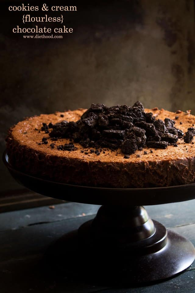 Cookies and Cream Flourless Chocolate Cake | www.diethood.com | Rich, crunchy, smooth, chocolaty cake with cookies and cream | #cake #chocolate #recipe #flourless