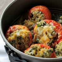 Quinoa and Spinach Stuffed Tomatoes | www.diethood.com | Baked tomatoes stuffed with quinoa and spinach, and topped with cheeses | #recipe #appetizer #dinner #sidedish #tomatoes