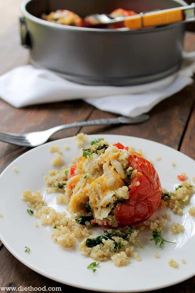 quinoa tomato 1 wp Quinoa and Spinach Stuffed Tomatoes + Giveaway