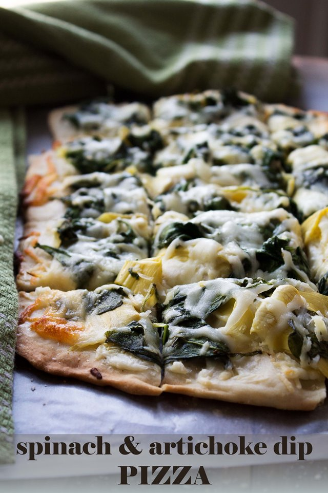 spinach artichoke dip pizza title wp Yeast Free Pizza Dough