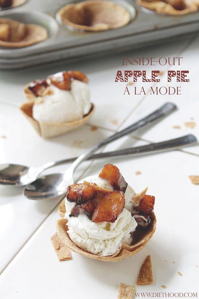 Inside-Out Apple Pie A La Mode | www.diethood.com | Scoop of vanilla ...