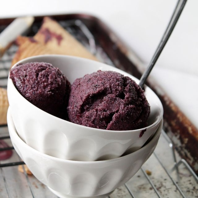 Lemon Blueberry Ice Cream | www.diethood.com | Only 3 ingredients - ice cream machine not required | #recipe #summer #icecream #blueberries