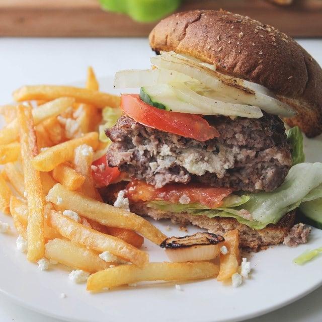 Garden Salad Feta Stuffed Burgers - Diethood