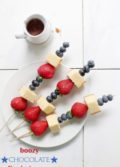 Boozy Chocolate Dipping Sauce | www.diethood.com | Red, white, and blue fruit skewers served with a chocolate dipping sauce made of chocolate, rum, and vanilla | #4thofjuly #recipes #appetizer #chocolate #fruit