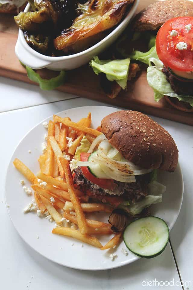 Garden Salad Feta Stuffed Burgers | www.diethood.com | #recipe # ...