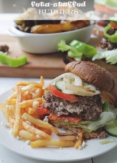 Garden Salad Feta Stuffed Burgers | www.diethood.com | #recipe #grilling #burgers