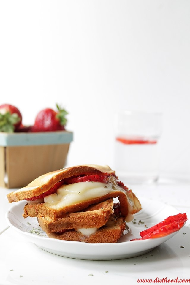 Grilled Strawberries Diethood Grilled Strawberry Caprese Cakewich