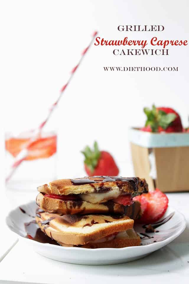 Grilled Strawberry Caprese Cakewich Diethood Grilled Strawberry Caprese Cakewich