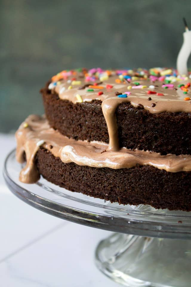 Chocolate Kahlua Cake | www.diethood.com | Layered chocolate cake spiked with a healthy dose of coffee liqeuer and frosted with a Chocolate and Kahlua whipped cream | #recipe #chocolatecake #hellmann's