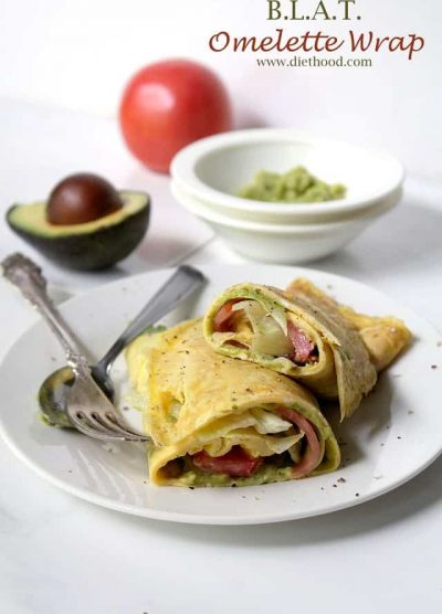 Bacon, lettuce, tomato and avocado wrapped up in an egg omelette